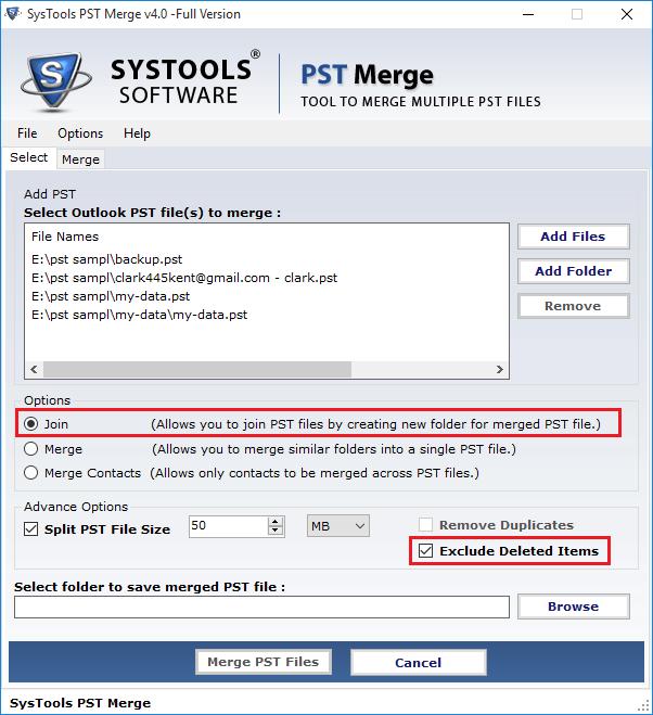 Mupltiple Option to Combine PST File