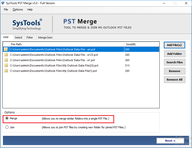 Outlook PST File Merge